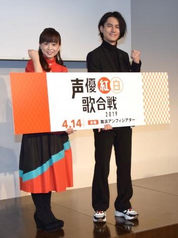 『声優紅白歌合戦』の会見に出席した(左から)岩男潤子、武内駿輔 (C)ORICON NewS inc.