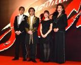 舞台『Endless SHOCK』ゲネプロ前囲み取材に出席した(左から)内博貴、堂本光一、梅田彩佳、前田美波里(C)ORICON NewS inc.