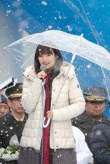 雪が舞う中、『第70回さっぽろ雪まつり』開会式に出席した広瀬すず(C)NHK