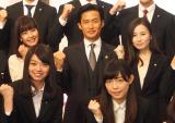 (上段左から)森川夕貴アナ、竹野内豊、桝田沙也香アナ (C)ORICON NewS inc.