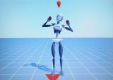 動きのチェック用画面。佐々木李子の動きに合わせて、画面の人型CGがポーズを取る(C)T-ARTS / syn Sophia / テレビ東京 / PCH2製作委員会