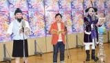 『映画プリキュア ミラクルユニバース』の公開アフレコに参加した(左から)脳みそ夫、爆笑問題・田中裕二、ゴー☆ジャス (C)ORICON NewS inc.