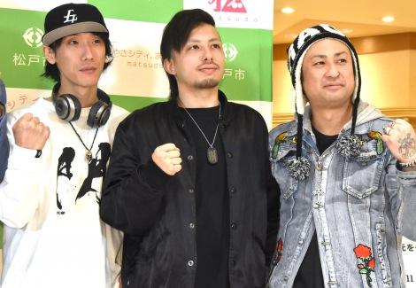 """『みんなでつくる""""マツド駅前ホコテンプロジェクト""""』の記者会見に出席した(左から)LOKAのKIHIRO、KEN、RIU (C)ORICON NewS inc."""