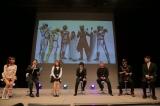 (左から)ヒーローショーのお姉さん、内山俊哉アナウンサー(名古屋放送局)、内山命(SKE48)、本田剛文(BOYS AND MEN)、岡元次郎、森博嗣=「トクサツガガガ緊急ファンミーティング」の模様(C)NHK