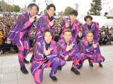 新曲「桜」リリース記念イベントを開催したDA PUMP(前列左から)DAICHI、ISSA、KIMI、(後列左から)TOMO、KENZO、YORI、U-YEAH (C)ORICON NewS inc.