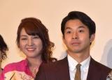 映画『きばいやんせ!私』の公開初日舞台あいさつに登壇した(左から)愛華みれ、太賀 (C)ORICON NewS inc.