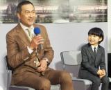 NHK 8Kスペシャルドラマ『浮世の画家』の試写会に出席した(左から)渡辺謙、寺田心 (C)ORICON NewS inc.