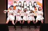 (写真左から)加賀楓、生田衣梨奈、佐藤優樹、野中美希、石田亜佑美=モーニング娘。'19『ベスト!モーニング娘。20th Anniversary』発売記念イベント
