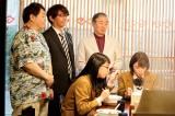 4月5日放送『ラーメン大好き小泉さん2019春SP』に出演する小宮浩信、田中美麗、美山加恋 (C)カンテレ