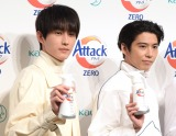 花王『アタックZERO』の新CM発表会に出席した(左から)杉野遥亮、賀来賢人 (C)ORICON NewS inc.