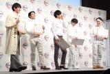 花王『アタックZERO』の新CM発表会に出席した(左から)杉野遥亮、賀来賢人、松坂桃李、菅田将暉、間宮祥太朗 (C)ORICON NewS inc.