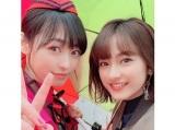 2ショット写真を公開した福原遥(左)と平祐奈 (福原遥公式ブログより)