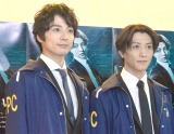 『舞台 PSYCHO-PASS サイコパス Virtue and Vice』のゲネプロ&囲み取材に登場した(左から)和田琢磨、鈴木拡樹