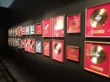 これまでに受賞したゴールドディスクを壁面に展示=展示会『俺 矢沢永吉』より