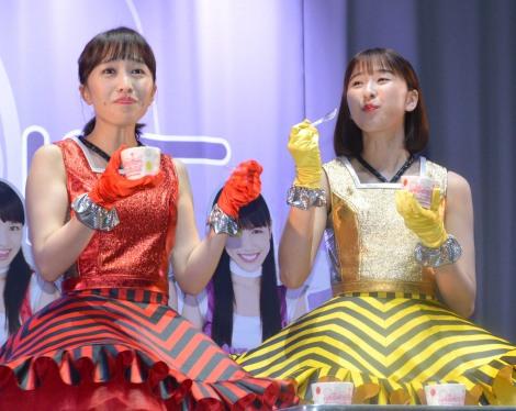 『ももいろ遊宴地 ももクロ IN JOYPOLIS』記者会見に出席した(左から)百田夏菜子、玉井詩織 (C)ORICON NewS inc.