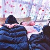 目も口も半開きにして眠る宮脇咲良(撮影:矢吹奈子) (C)ORICON NewS inc.