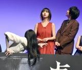 貞子に気づかない振りをする池田エライザ=『貞子』完成披露イベント (C)ORICON NewS inc.