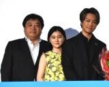 (左から)錦織良成監督、山口まゆ、TAKAHIRO=映画『僕に、会いたかった』公開記念舞台あいさつ (C)ORICON NewS inc.