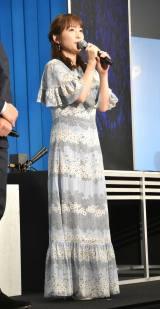 アニメ映画『きみと、波にのれたら』の完成披露舞台あいさつに出席した川栄李奈 (C)ORICON NewS inc.