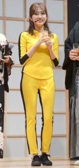 『キル・ビル』衣装で登場した菊地亜美=『ソーダストリーム 生麦・生米・生炭酸2019』新製品発表会 (C)ORICON NewS inc.
