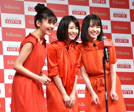 せーので「チョコレート、ロッテ〜♪」を歌った3人 (C)ORICON NewS inc.