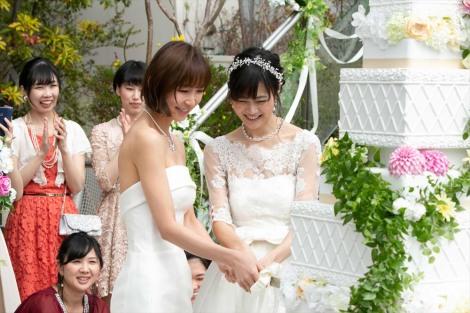 5月24日放送、ドラマ10『ミストレス〜女たちの秘密〜』第6話で結婚式を挙げる玲(篠田麻里子)とミナ(小篠恵奈)(C)NHK