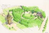 『ジブリパーク』デザイン画・鳥観図=青春の丘エリア