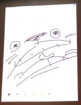 糸曽賢志監督が3秒で描いた=「『サンタ・カンパニー』&『コルボッコロ』劇場版制作プロジェクト」発表会  (C)ORICON NewS inc.