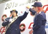 『2019痴漢撲滅キャンペーン』イベントでパンチを止める長与千種 (C)ORICON NewS inc.