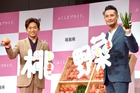 ユーモアを交えジャニーさんを追悼したTOKIO(左から)城島茂、松岡昌宏=『ふくしまプライド。2019』新CM発表会 (C)ORICON NewS inc.