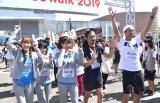 (左から)NMB48・小嶋花梨、上西怜、加藤夕夏、パンサー・菅良太郎、尾形貴弘=『みんわらウィーク』内イベント『SDGsウォーク2019』の模様 (C)ORICON NewS inc.