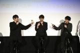 映画『二ノ国』声優ドリームチームスペシャルイベントに登壇した(左から)梶裕貴、宮野真守、津田健次郎