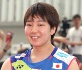 『世界バドミントン2019スイス・バーゼル』に出場する日本代表選手の壮行会に出席した山口茜 (C)ORICON NewS inc.