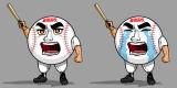 番組オリジナルキャラクター「硬球くん」左が真顔、右が泣き顔(C)テレビ朝日