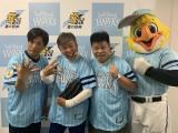 『鷹の祭典2019 in 大阪』で始球式を務めた(左から)ヤナギブソン、村上ショージ、ジミー大西(C)SoftBank HAWKS