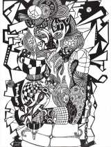 《AQUARIUS》2002年 69×52cm 紙(切り絵)=『デジタルとアナログで想像する 藤井フミヤ展「THE DIVERSITY 多様な想像新世界」』(8月21日〜9月1日)