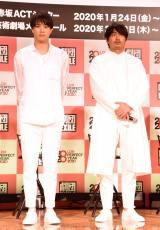 舞台『勇者のために鐘は鳴る』製作発表会見に出席した劇団EXILE(左から)鈴木伸之、青柳翔 (C)ORICON NewS inc.