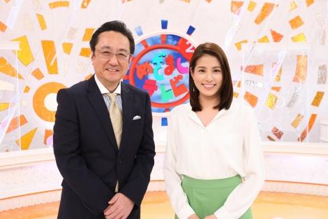 『めざましテレビ』MC(左から)三宅正治アナウンサー、永島優美アナウンサー(C)フジテレビ