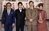 舞台『愛と哀しみのシャーロック・ホームズ』の公開けいこに参加した(左から)三谷幸喜、柿澤勇人、佐藤二朗、広瀬アリス (C)ORICON NewS inc.