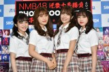 『NMB48近畿十番勝負2019 PHOTOBOOK』発売記念握手会に出席した(左から)川上千尋、渋谷凪咲、小嶋花梨、東由