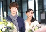 日本テレビ系連続ドラマ『偽装不倫』のクランクアップを迎えた(左から)宮沢氷魚、杏 (C)ORICON NewS inc.