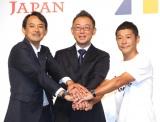 資本業務提携に関する記者会見に出席した(左から)川邊健太郎氏、澤田宏太郎氏 、前澤友作氏 (C)ORICON NewS inc.