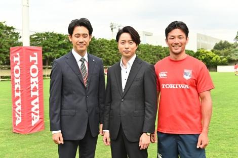 TBS 日曜劇場『ノーサイド・ゲーム』に出演する(左から)大泉洋、櫻井翔、廣瀬俊朗(C)TBS