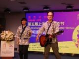 『第5回上海国際コメディフェスティバル』の会見に出席した(左から)曽麻綾、松浦真也