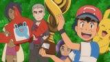 ポケモンリーグ初優勝を飾った主人公・サトシと仲間のピカチュウたち