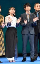 劇場アニメ『空の青さを知る人よ』ブルースカイプレミアに出席した(左から)吉岡里帆、吉沢亮 (C)ORICON NewS inc.