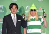 『ラグビーワールドカップ2019』のパブリックビューイング『爆音ラグビー』PRイベントに参加した(左から)大畑大介選手、DJ KOO (C)ORICON NewS inc.