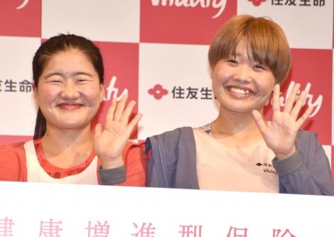 駅伝後にリバウンドしたことを明かしたガンバレルーヤ・よしこ(左)と相方のまひる=『Vitality Day 2019』 (C)ORICON NewS inc.