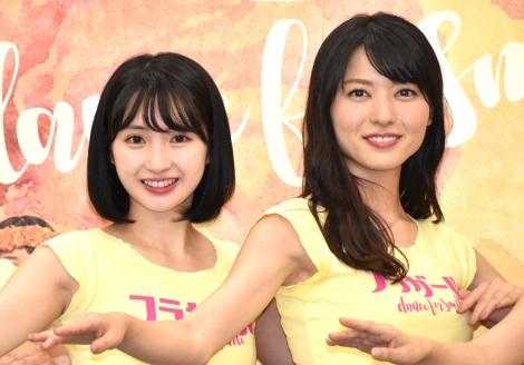 舞台『フラガール -dance for smile-』の取材会に出席した(左から)井上小百合、矢島舞美 (C)ORICON NewS inc.