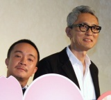 『ヒキタさん! ご懐妊ですよ』公開記念舞台あいさつに登壇した(左から)濱田岳、松重豊 (C)ORICON NewS inc.